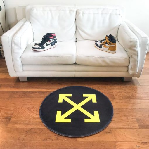 Yellow Logo Circle Sneaker Gulvmåtte i Sort Ø80 cm